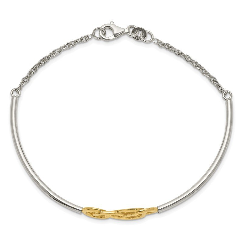 Quality Gold Sterling Silver Flash Gold Double Infinity Symbol Bangle Bracelet