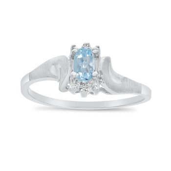 14k White Gold Oval Aquamarine And Diamond Satin Finish Ring
