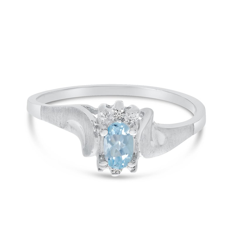 Color Merchants 14k White Gold Oval Aquamarine And Diamond Satin Finish Ring