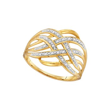 10kt Yellow Gold Womens Round Diamond Woven Fashion Band Ring 1/20 Cttw