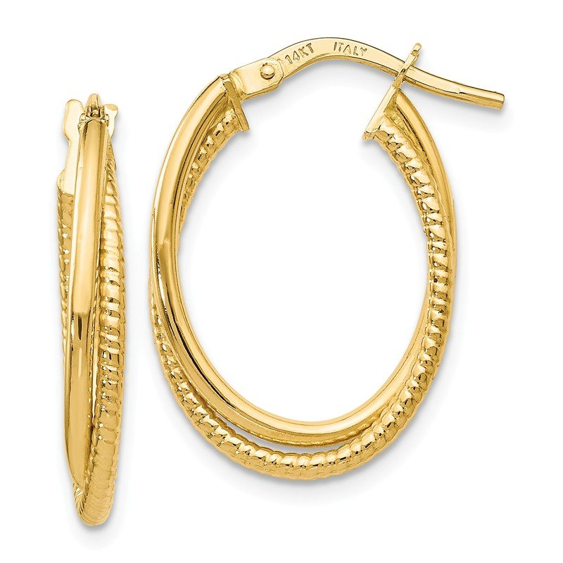 Leslie's Leslie's 14K Gold Polished Textured Oval Hoop Earrings