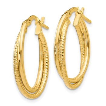 Leslie's 14K Gold Polished Textured Oval Hoop Earrings