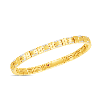 18K VENETO WOVEN SINGLE ROW BRACELET  W. DIAMOND ACCENT