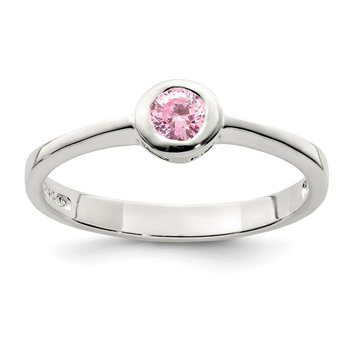Sterling Silver Pink Round Bezel CZ Ring