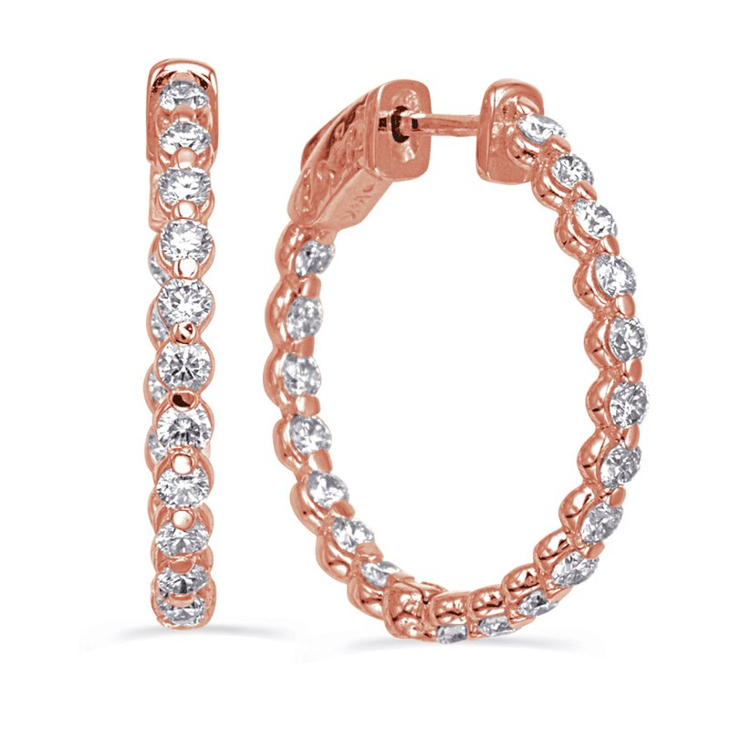 S. Kashi  & Sons Rose Gold Securehinge Share Prong Earrin