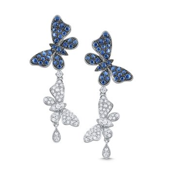 Diamond and Blue Sapphire Double Butterfly Earrings