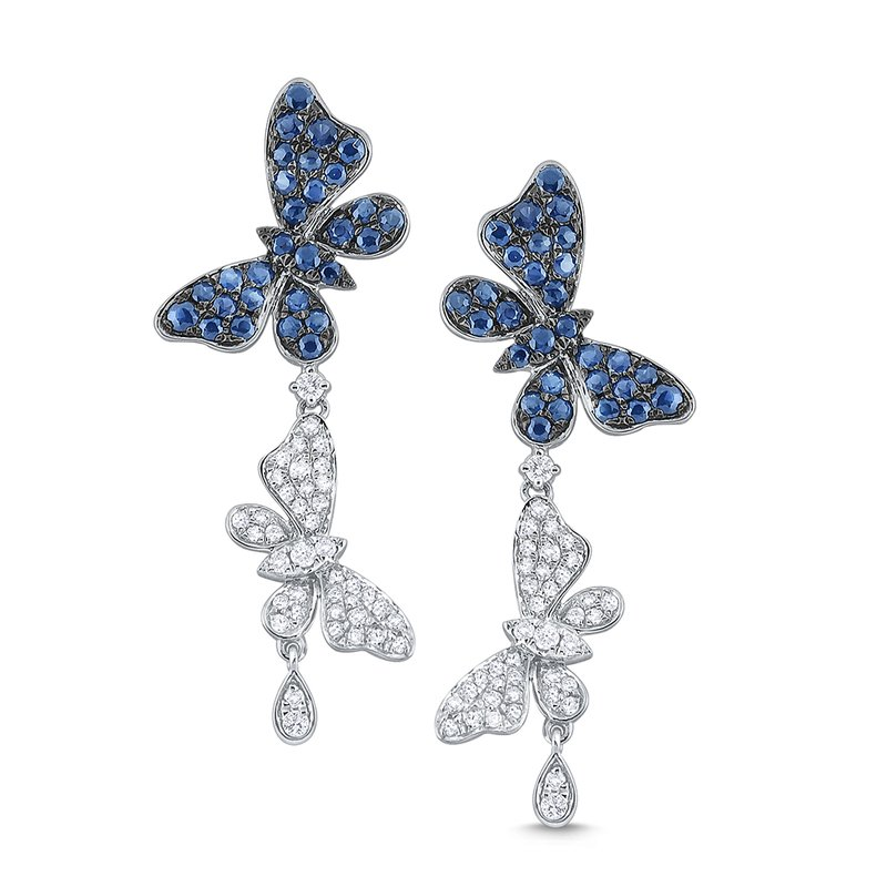 MAZZARESE Fashion Diamond and Blue Sapphire Double Butterfly Earrings