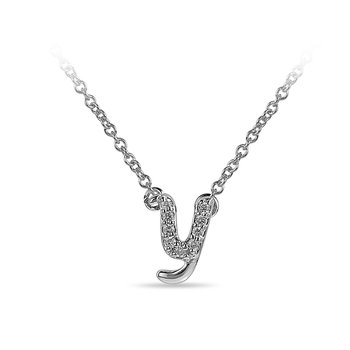 "10K WG and diamond cursive alphabet Y ""Chain Sliding "" pendant in prong setting"