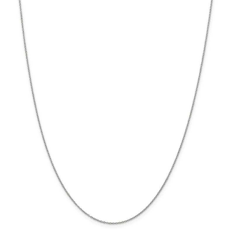 Quality Gold Sterling Silver 1mm Rhodium-plated Cable Chain