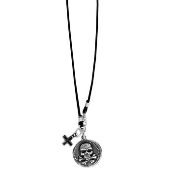 Large Skull Coin And Ancient Cross On Braided Cord