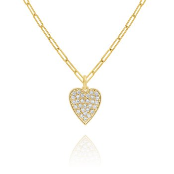 "14k Gold and Diamond Pave Heart on 18"" Paperclip Chain"
