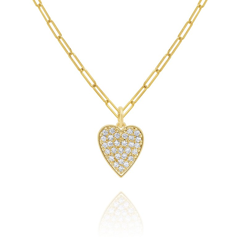 "KC Designs 14k Gold and Diamond Pave Heart on 18"" Paperclip Chain"
