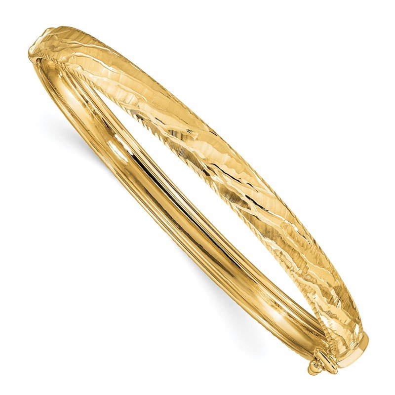 Quality Gold 14k D/C Textured Hinged Bangle