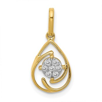 14k Polished 1/15ct. Diamond Fancy Teardrop Pendant