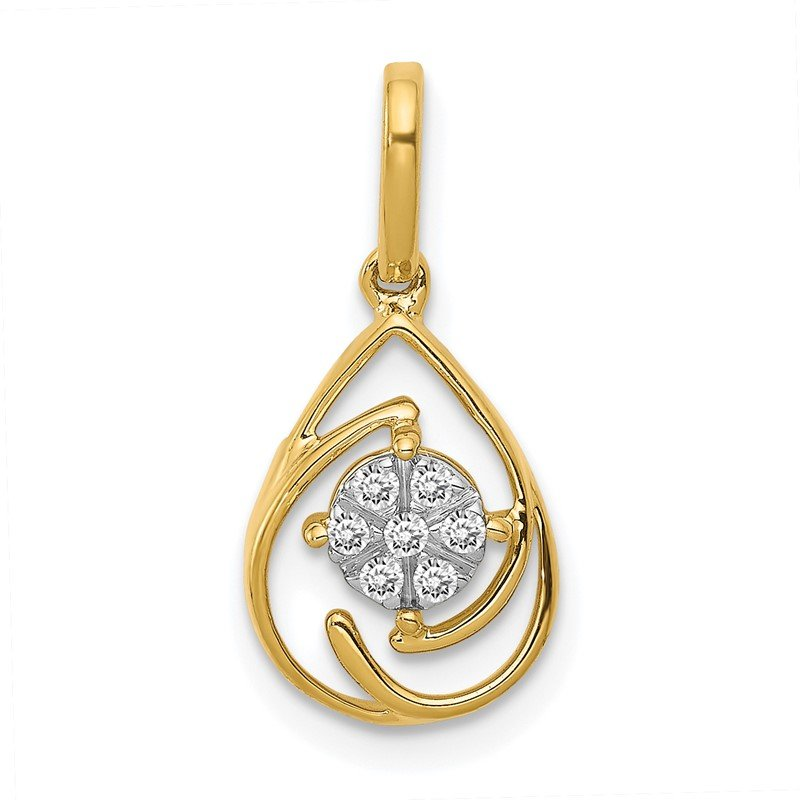Arizona Diamond Center Collection 14k Polished 1/15ct. Diamond Fancy Teardrop Pendant