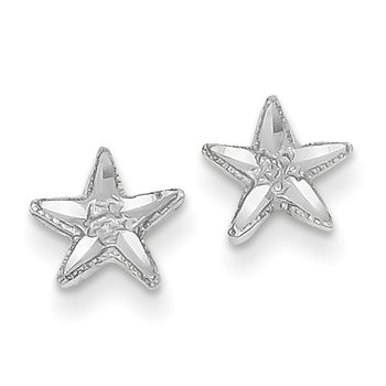 14k White Gold Diamond-cut Starfish Earrings