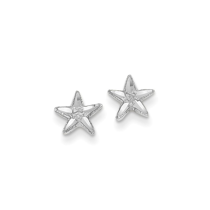 Quality Gold 14k White Gold Diamond-cut Starfish Earrings