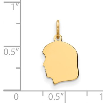 14k Plain Small .013 Gauge Facing Left Engravable Girl Head Charm