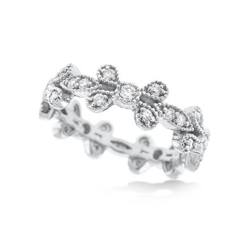 Diamond Floral Style Stack Ring in 14K White Gold with 35 Diamonds Weighing .62ct tw