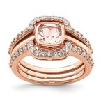 Quality Gold Sterling Silver 3 Piece Rose-tone Pink Crystal & CZ Ring Set