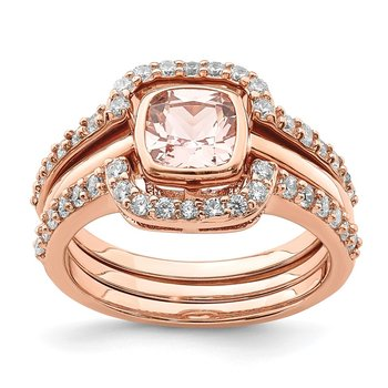 Sterling Silver 3 Piece Rose-tone Pink Crystal & CZ Ring Set