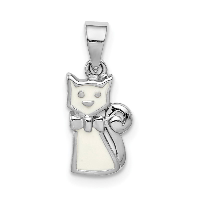 Quality Gold Sterling Silver Rhodium-plated Childs Enameled White Cat Pendant