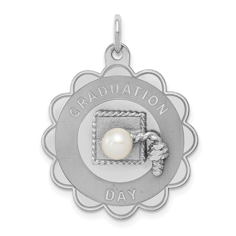 Quality Gold Sterling Silver Rhodium Graduation Day Disc with FW Cultured Pearl Charm