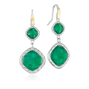 Flourishing Gem Drop Earrings featuring Clear Quartz over Green Onyx