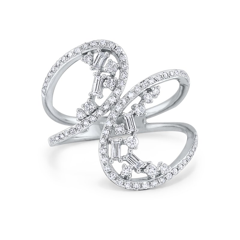 KC Designs 14K Round and Baguette Diamond Ring