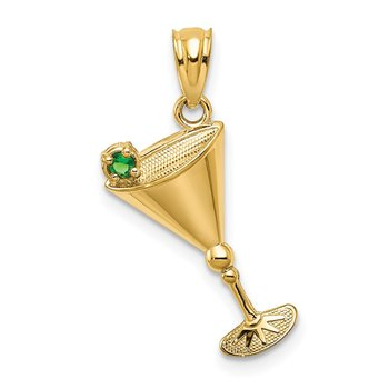 14k Martini Glass with Green CZ Olive Pendant
