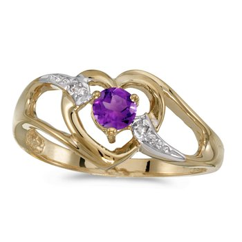 14k Yellow Gold Round Amethyst And Diamond Heart Ring