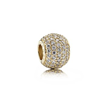 Pavé Lights Charm, Clear Cz 14K Gold