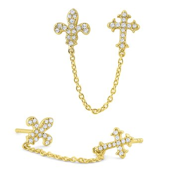 14k Gold and Diamond Fleur de Lis and Cross Single Earring