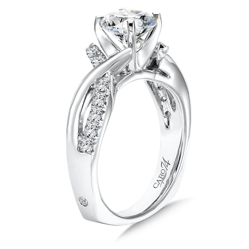 Diamond Criss Cross Engagement Ring in 14K White Gold with Platinum Head (1-1/4ct. tw.)
