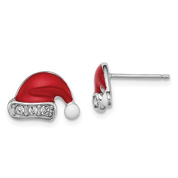 Sterling Silver Rhodium-plated Madi K Enamel Swarovski Santa Hat Earrings