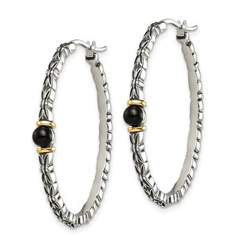 Sterling Silver w/14k 4.5mm Button Onyx Oval Hoop Earrings