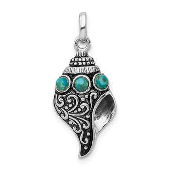 Sterling Silver Rhod-plate Antiqued Reconstituted Turquoise Shell Pendant