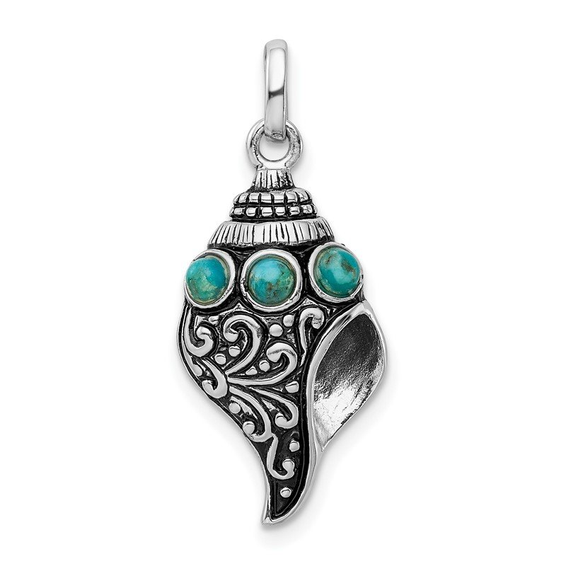 Quality Gold Sterling Silver Rhod-plate Antiqued Reconstituted Turquoise Shell Pendant