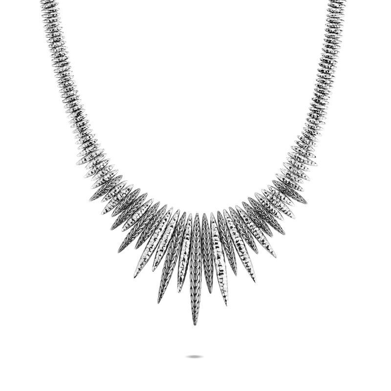 JOHN HARDY Classic Chain Spear Bib Necklace in Hammered Silver