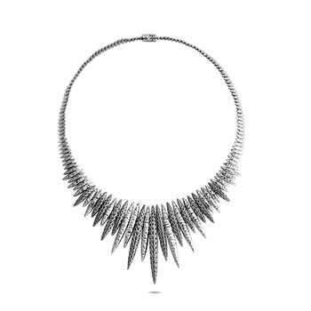 Classic Chain Spear Bib Necklace in Hammered Silver