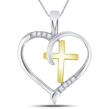 Sterling Silver Womens Round Diamond Heart & Cross Two-tone Pendant 1/20 Cttw