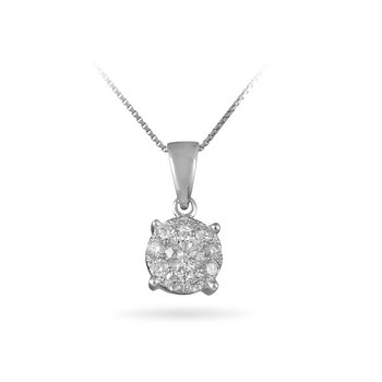 14K WG Diamond Cluster Galaxy Pendant 1.25 Ct Look