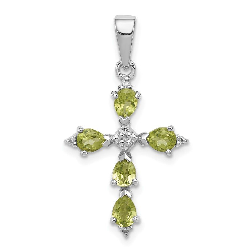 JC Sipe Essentials Sterling Silver Rhodium Pear Peridot Cross Pendant