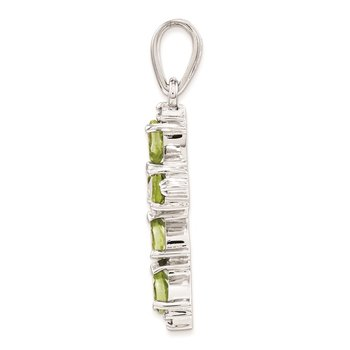 Sterling Silver Rhodium Pear Peridot Cross Pendant
