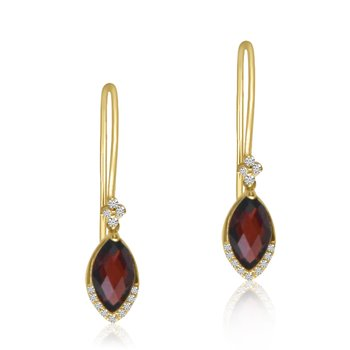 14K Yellow Gold Garnet and Diamond Hook Earrings