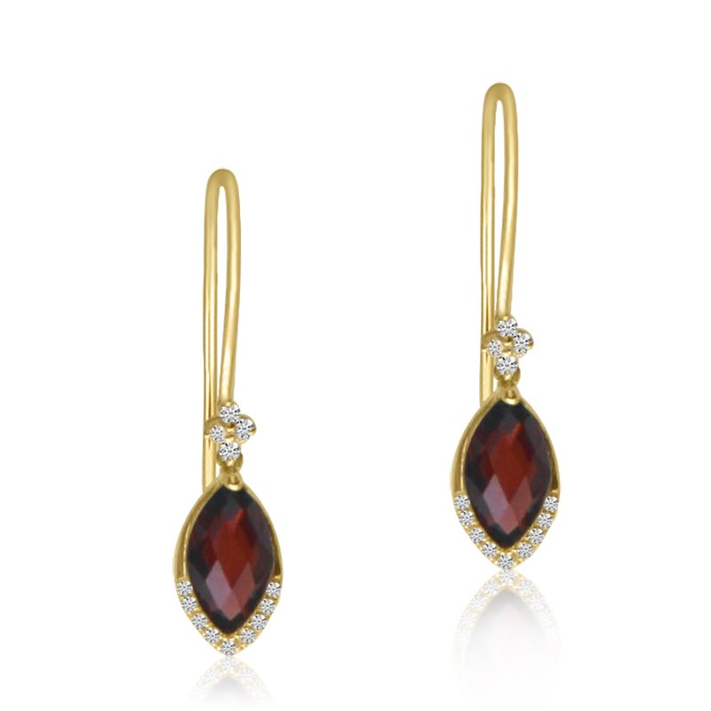 Color Merchants 14K Yellow Gold Garnet and Diamond Hook Earrings