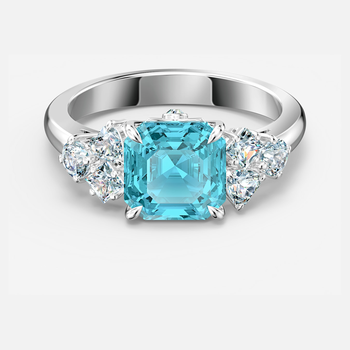 Sparkling Ring, Aqua, Rhodium plated