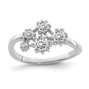 Sterling Silver Rhodium-plated w/ CZ Ring