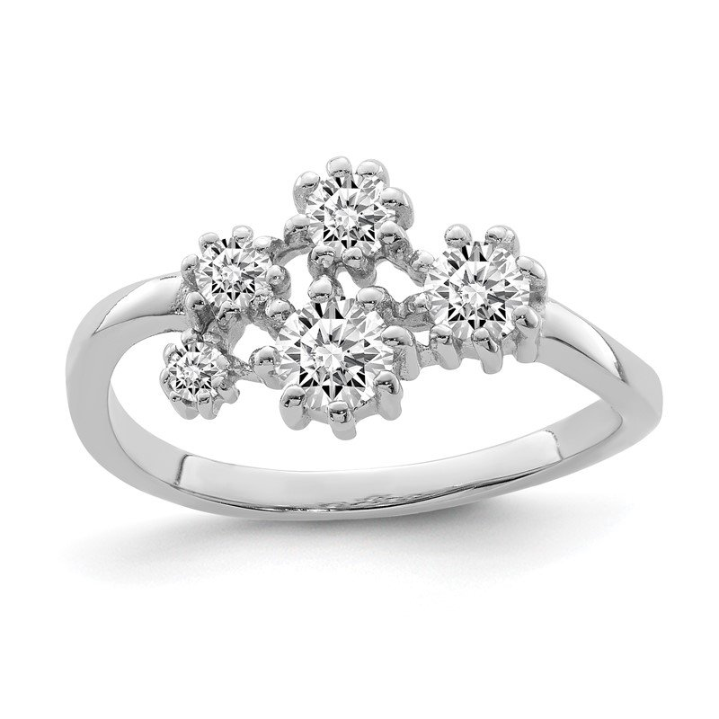 Quality Gold Sterling Silver Rhodium-plated w/ CZ Ring