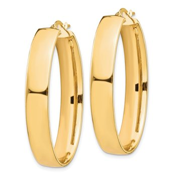 14k High Polished 7mm Oval Hoop Earrings